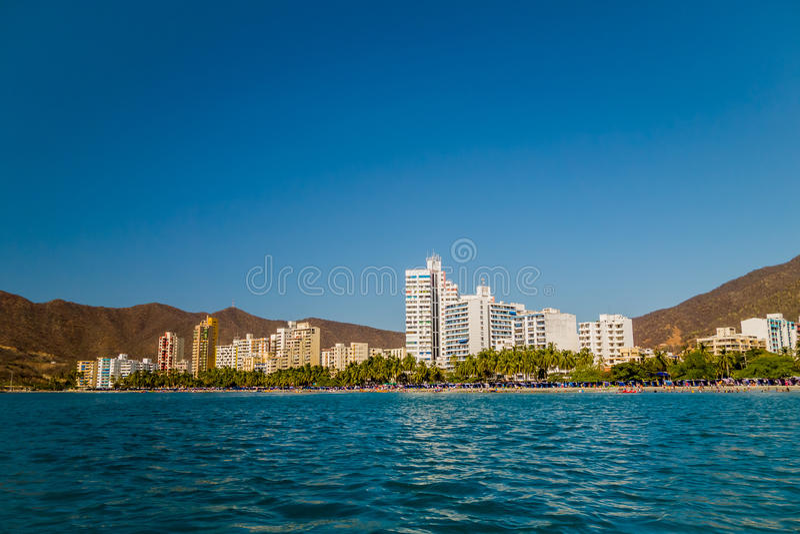 Beautiful view of Santa Marta, Colombia. Beautiful cityscape view of Rodadero beach in Santa Marta, Colombia royalty free stock photo