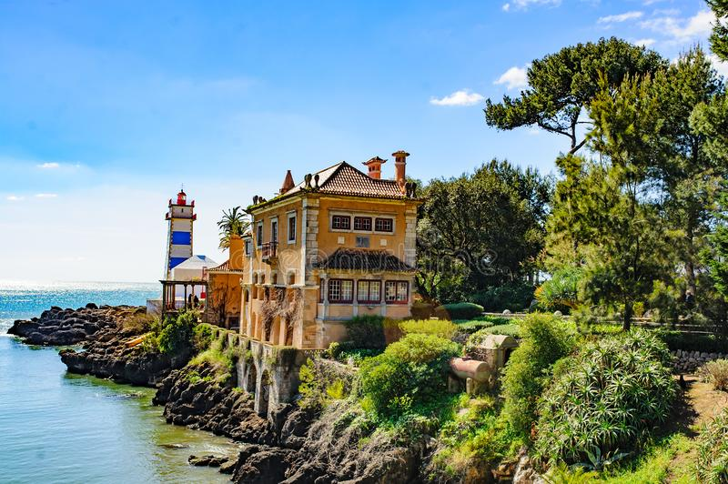 Beautiful view of Santa Marta Lighthouse and Museum in Cascais, Portugal. Near Lisboa royalty free stock photo