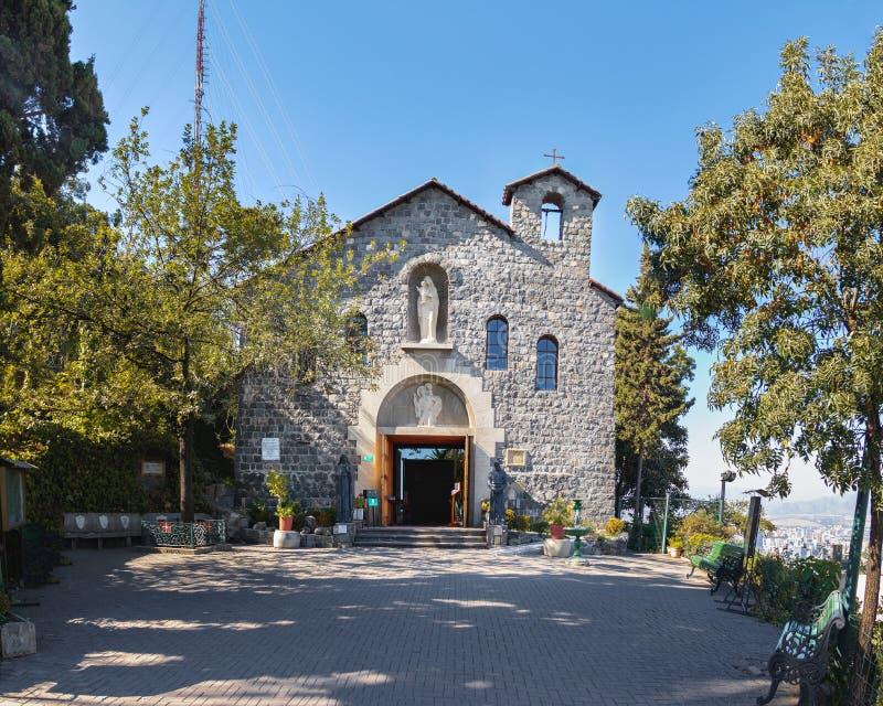 Chapel of San Cristobal Hill - Santiago, Chile. Beautiful view of Santiago de Chile city stock images
