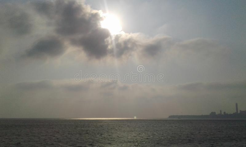 Beautiful view of sea and sunlight stock photos