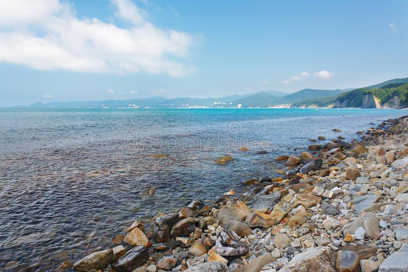 Beautiful view of the sea and forested mountain seashore stock photography