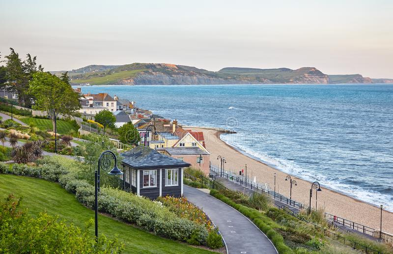The beautiful view from the Seafront gardens to the Lyme Bay. Lyme Regis. West Dorset. England stock photography