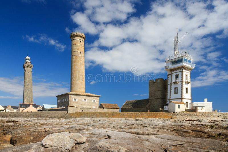Saint-Pierre lighthouses. Beautiful view of the semaphore tower, the St. Peter chapel Chapelle Saint-Pierre and the Penmarc`h and the Eckmühl lighthouses in royalty free stock image