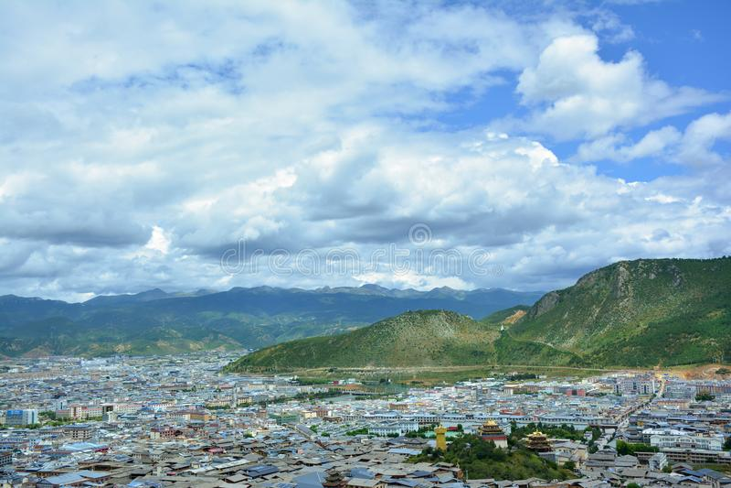 Beautiful view of the Shangri-La city. Tibet, China. Beautiful view of the Shangri-La city from the top of the hill. Tibet, China royalty free stock photo