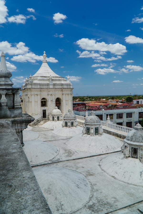 Panoramic view of the roof of Leon Cathedral, Nicaragua stock images