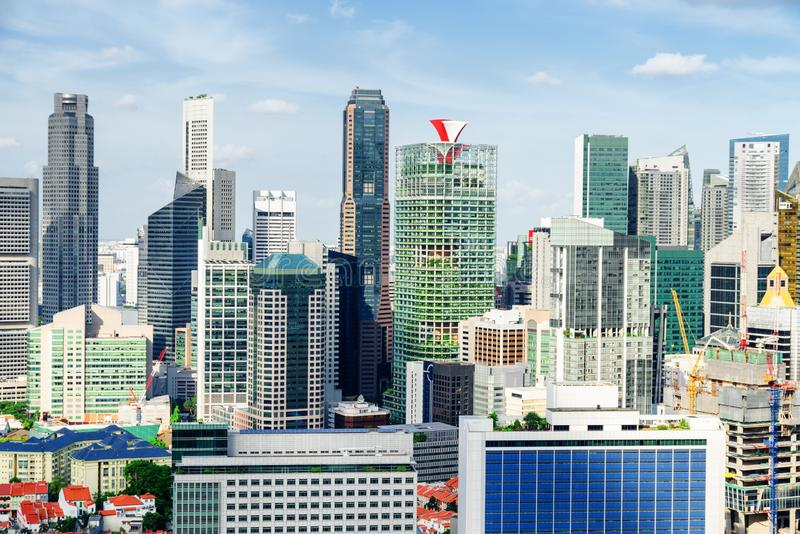 Beautiful view of skyscrapers in Singapore. Scenic cityscape. Scenic view of skyscrapers and other modern buildings in downtown of Singapore on blue sky stock image