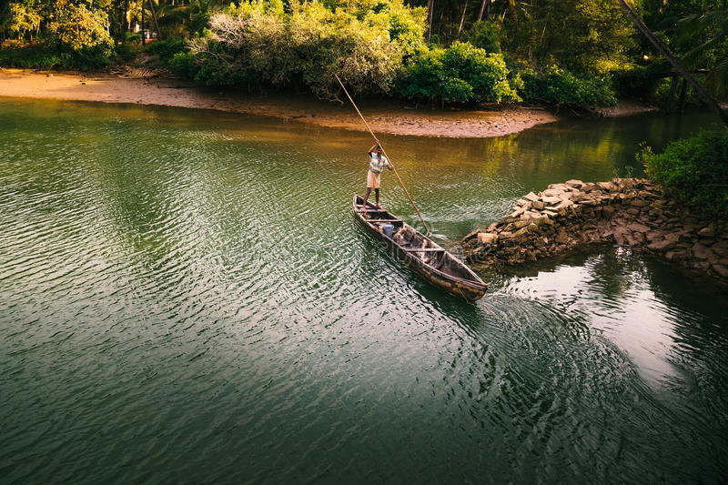 Beautiful view of small fishing boat royalty free stock photography