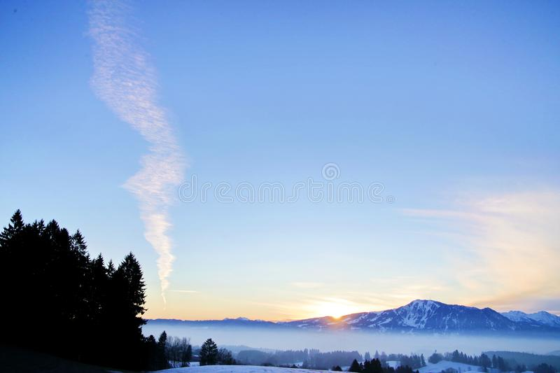 Beautiful view snowy landscape mountains stock photos