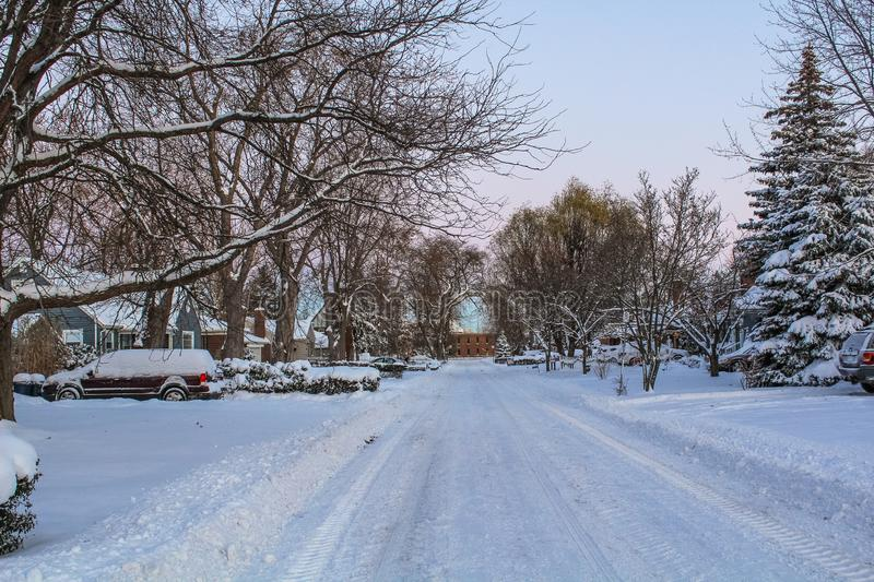 A SNOWY MORNING ON A RANDOM STREET. A BEAUTIFUL VIEW OF A SNOWY MORNING IN A RANDOM STREET WITH TREES AND HOUSES royalty free stock images