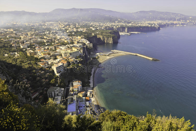 Beautiful view of Sorrento in foggy morning stock image