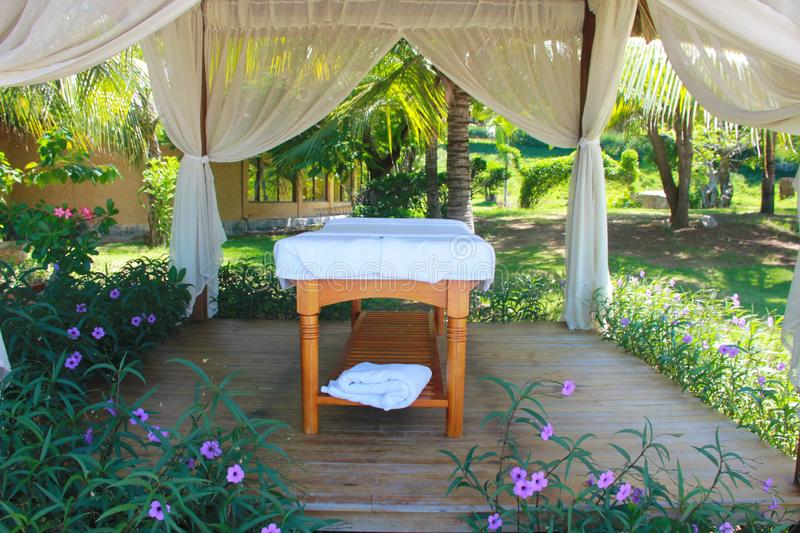 Beautiful view on spa massage room at beachside in bungalow stock images