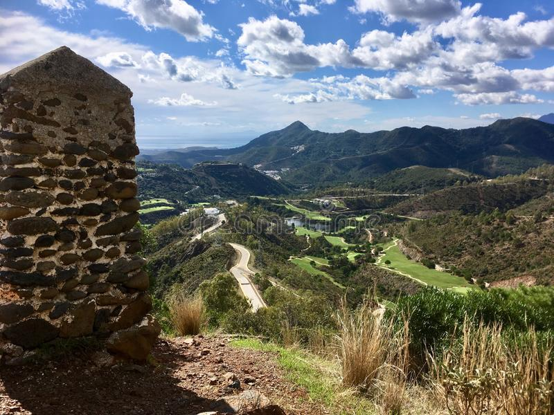Beautiful view on Spanish mountains. Valley between Spanish mountains royalty free stock image