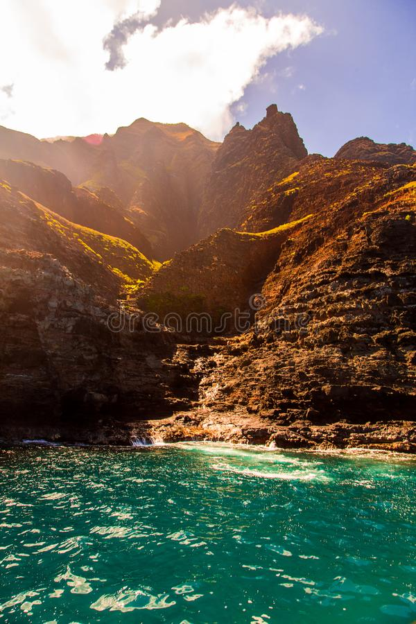 Beautiful view of spectacular Na Pali coast. Cliffs on Kauai island, Hawaii stock images