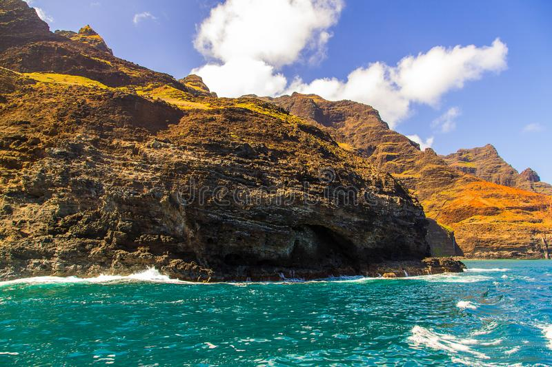 Beautiful view of spectacular Na Pali coast. Cliffs on Kauai island, Hawaii royalty free stock images