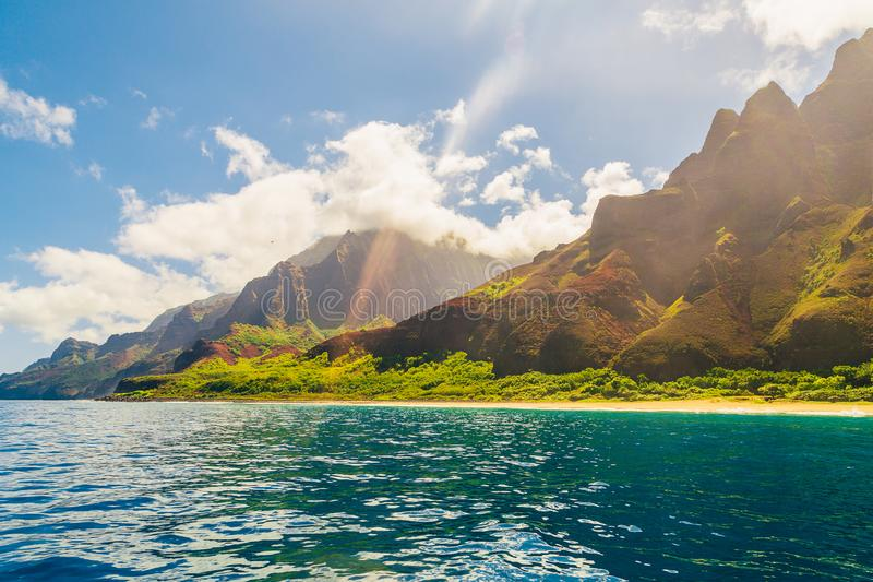 Beautiful view of spectacular Na Pali coast. Cliffs on Kauai island, Hawaii royalty free stock photo