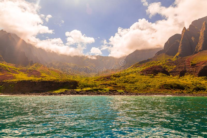 Beautiful view of spectacular Na Pali coast. Cliffs on Kauai island, Hawaii stock image