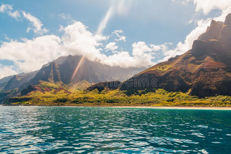 Beautiful view of spectacular Na Pali coast. Cliffs on Kauai island, Hawaii royalty free stock photography