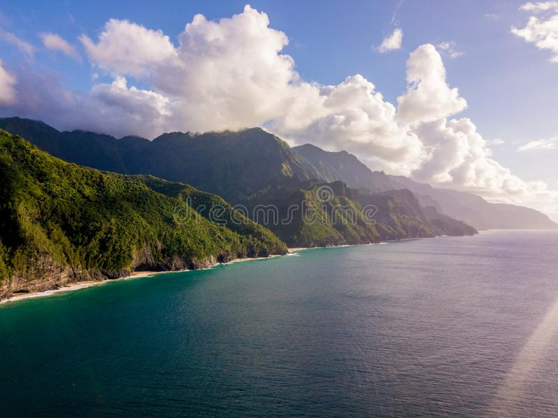 Beautiful view of spectacular Na Pali coast cliffs. On Kauai island, Hawaii stock photography