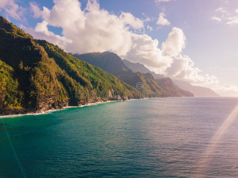 Beautiful view of spectacular Na Pali coast cliffs. On Kauai island, Hawaii stock images