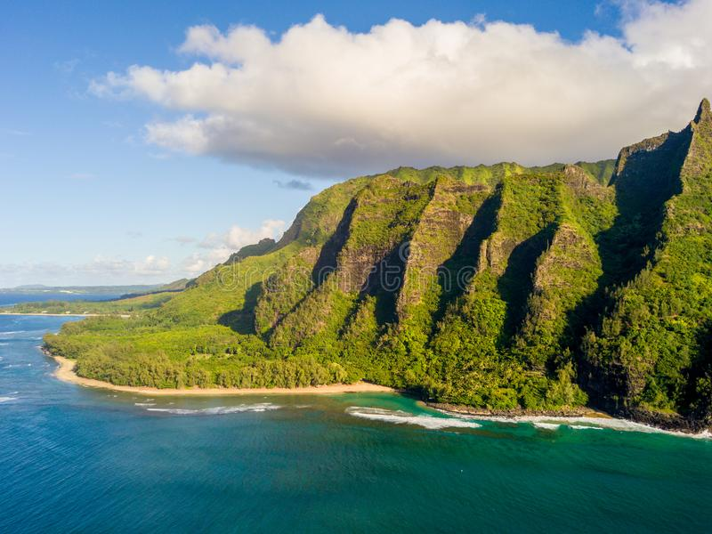 Beautiful view of spectacular Na Pali coast cliffs. On Kauai island, Hawaii royalty free stock photo