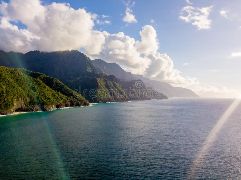 Beautiful view of spectacular Na Pali coast cliffs. On Kauai island, Hawaii royalty free stock photography