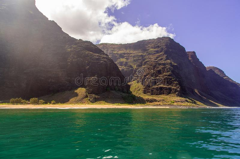 Beautiful view of spectacular Na Pali coast stock photography