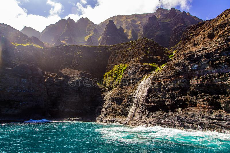 Beautiful view of spectacular Na Pali coast. Cliffs on Kauai island, Hawaii stock photography