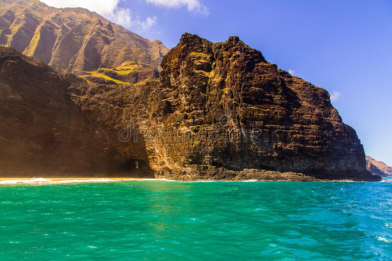 Beautiful view of spectacular Na Pali coast. Cliffs on Kauai island, Hawaii royalty free stock image