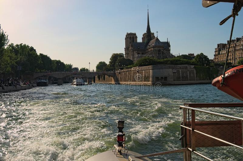 Beautiful view of Sqare Jean XXIII and Notre Dame Cathedral or Notre-Dame de Paris-church in the Cite island, Paris, France royalty free stock images