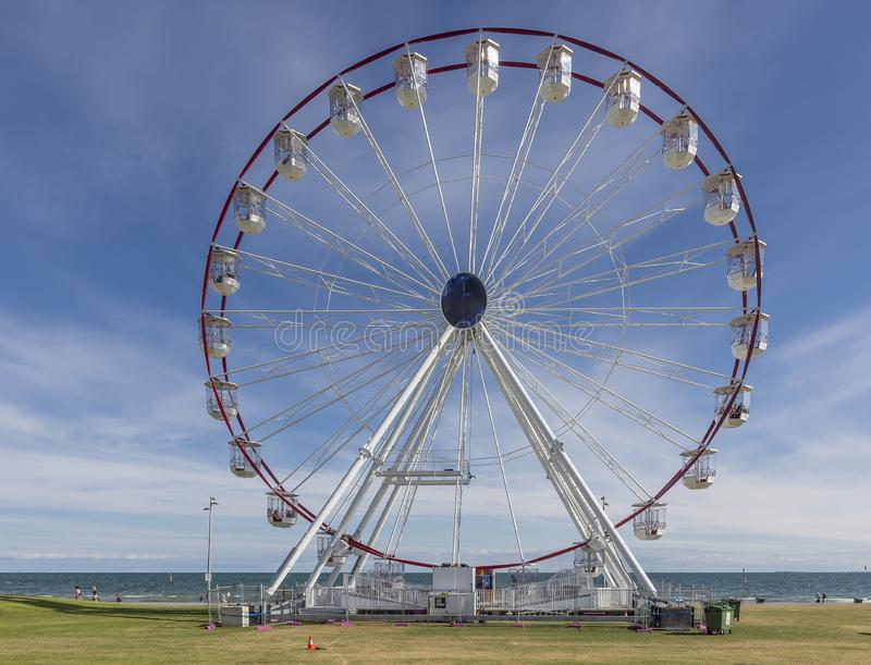 Beautiful view of the St Kilda Ferris Wheel on a sunny day with some clouds, Melbourne, Australia stock photo
