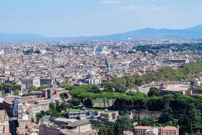 The beautiful view from the St. Peter`s Basilica over the city of Rome stock photo