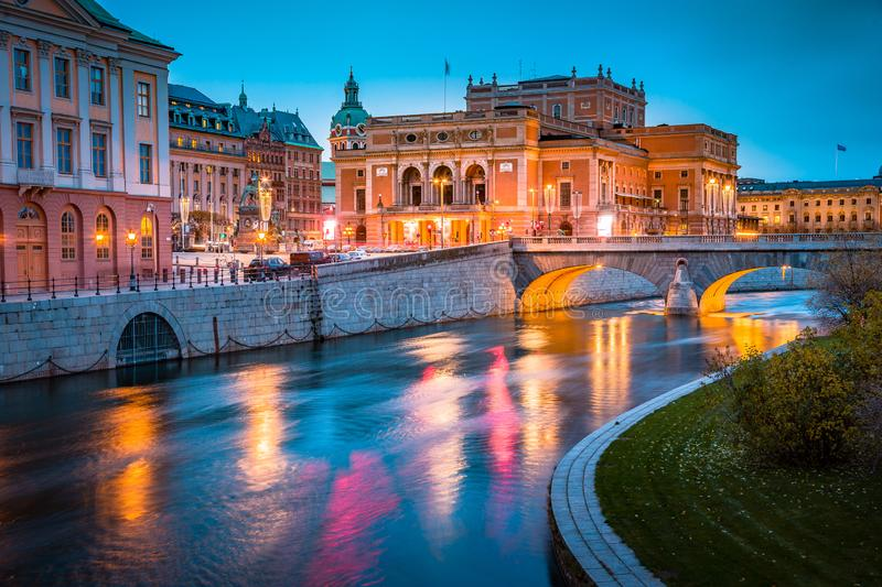 Beautiful view of Stockholm city center with famous Royal Swedish Opera Kungliga Operan illuminated at twilight, Sweden, Scandin. Avia stock images