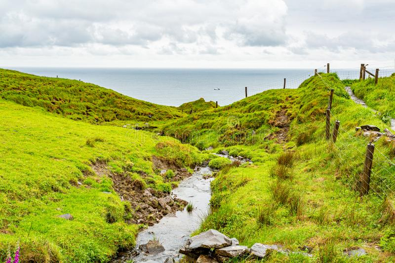 Beautiful view of a stream with the sea in the background on the coastal walk route. From Doolin to the Cliffs of Moher, Wild Atlantic Way, rainy day in county stock photo