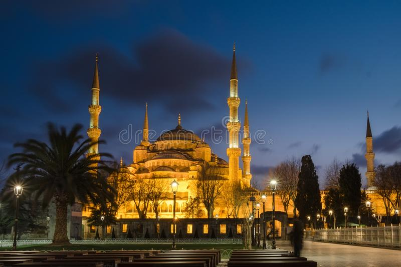 Sultanahmet blue mosque at night, Istanbul ,Turkey. Beautiful view on Sultanahmet Blue Mosque at night, famous islamic Landmark mosque, Travel to Istanbul royalty free stock image