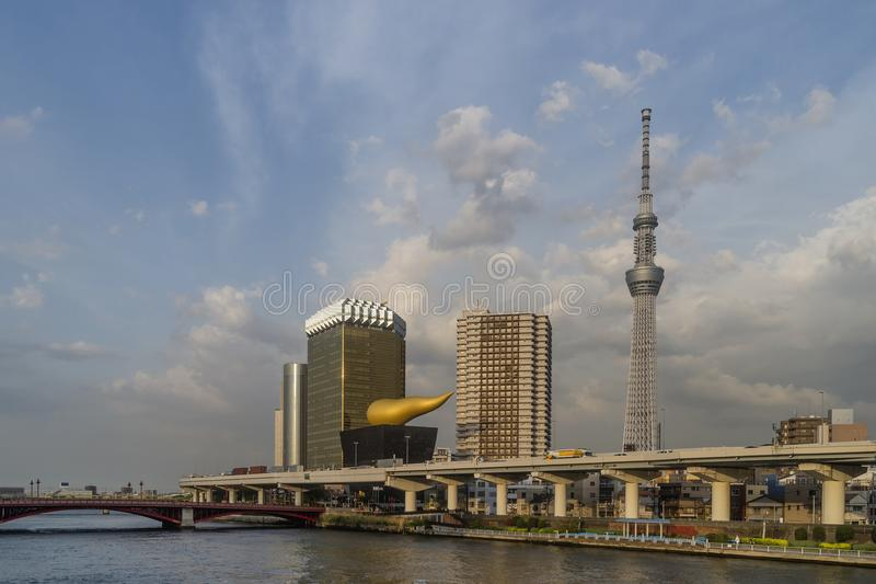 Beautiful view of the Sumida River in the Asakusa district of Tokyo, Japan royalty free stock photography