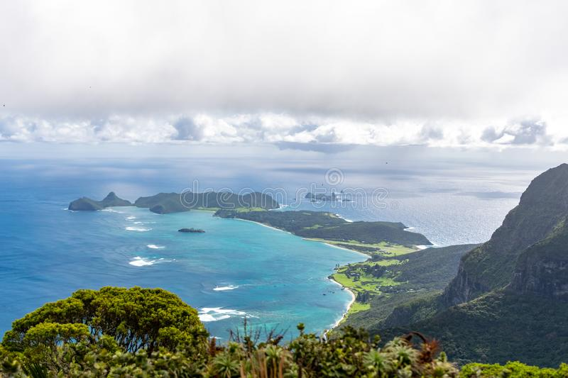 Beautiful view from the summit of Mount Gower 875 meters above sea level, highest point on Lord Howe Island. A pacific subtropical island in the Tasman Sea stock image