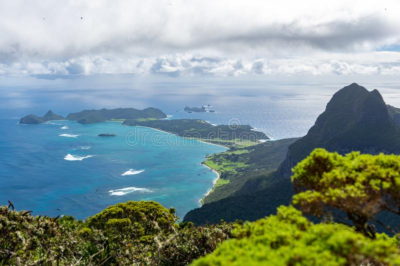 Beautiful view from the summit of Mount Gower 875 meters above sea level, highest point on Lord Howe Island. A pacific subtropical island in the Tasman Sea stock photo