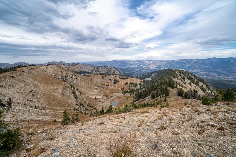 Beautiful view from the summit of mountains in the Bridger Teton National Forest in Wyoming stock photos
