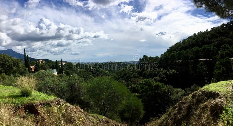 Beautiful view on sunny day. Valley between Spanish mountains royalty free stock photos