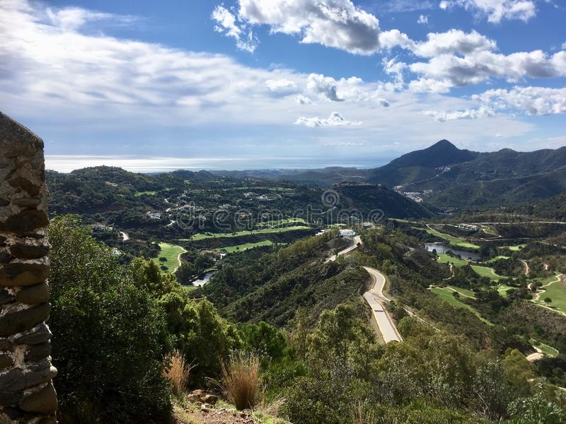 Beautiful view on sunny day. Valley between Spanish mountains royalty free stock photography