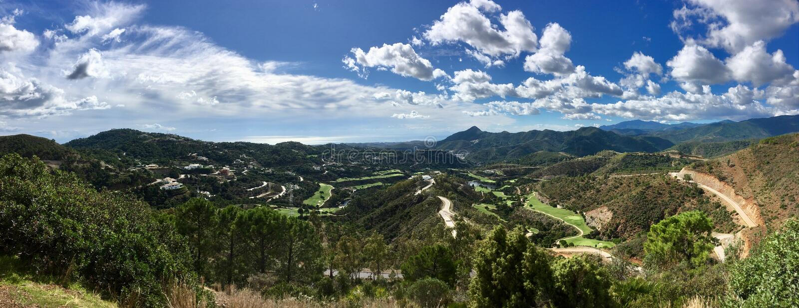 Beautiful view on sunny day. Valley between Spanish mountains royalty free stock image