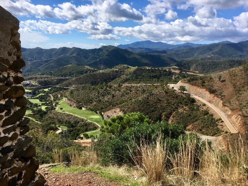 Beautiful view on sunny day. Valley between Spanish mountains royalty free stock images