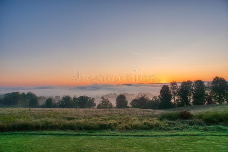 Beautiful view of the sunrise in Venango Valley, Northwest Pennsylvania. The beautiful view of the sunrise in Venango Valley, Northwest Pennsylvania stock photo