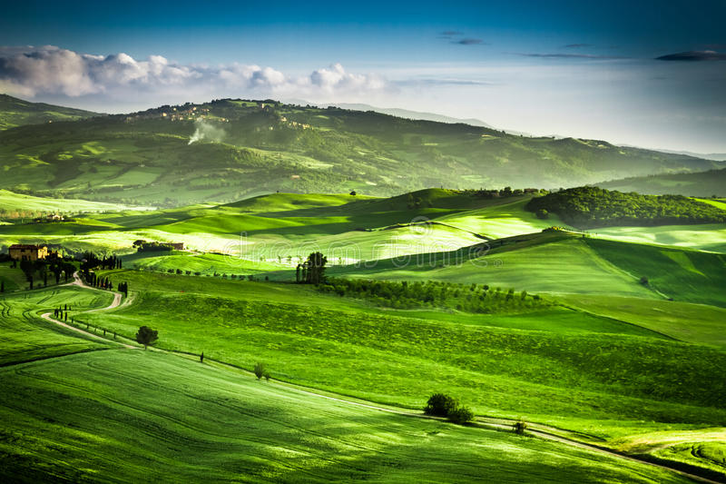 Beautiful view of the sunset over the green valley. Italy stock image