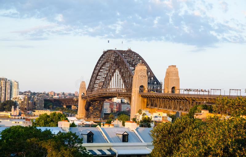 Beautiful view of Sydney Harbour bridge from Observatory Hill Lookout. royalty free stock image