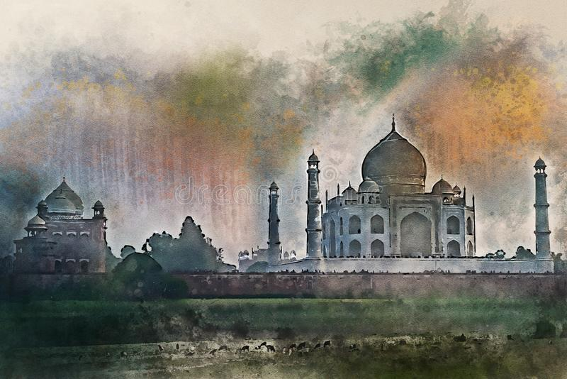 Watercolor painting of Taj Mahal scenic sunset view in Agra, India. Beautiful view of Taj Mahal from the bank of Yamuna in Agra, India. Illustration in royalty free illustration