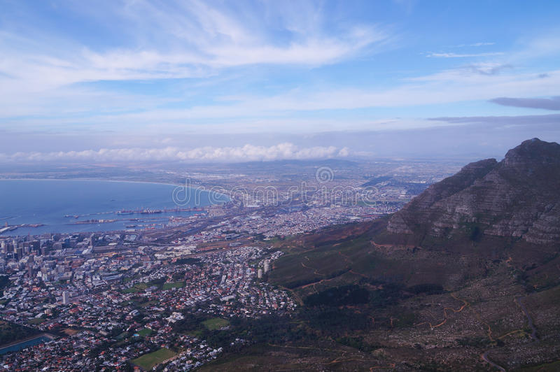 Beautiful view taken from cable car to Table Mountain. royalty free stock photos