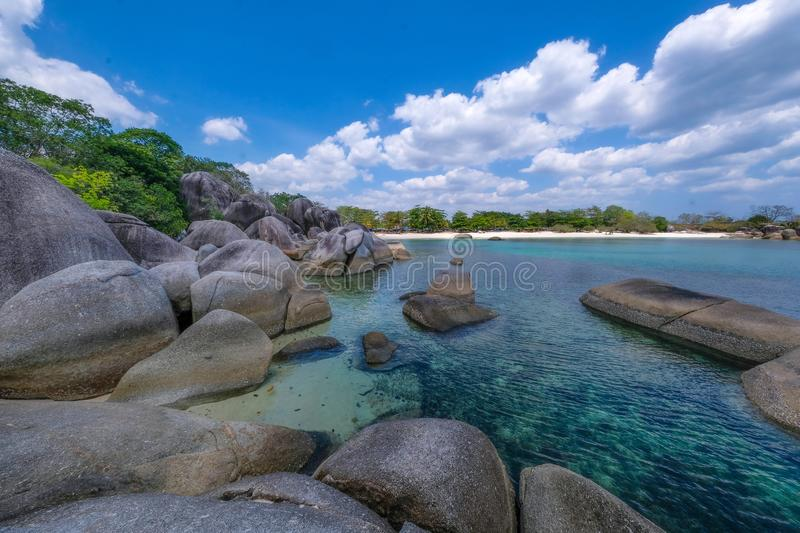 Beautiful view at Tanjung Tinggi beach Belitung island Indonesia. You can see many rock on the beach royalty free stock images