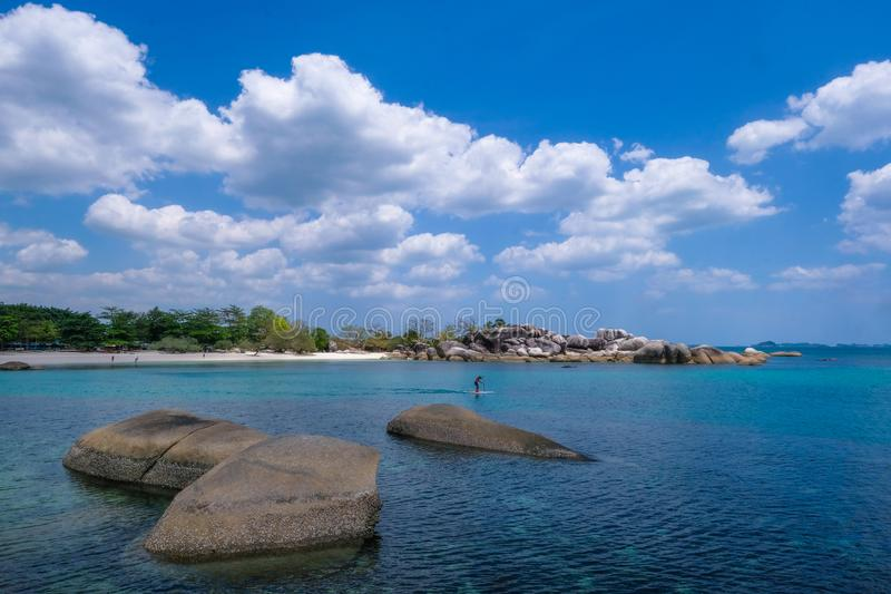Beautiful view at Tanjung Tinggi beach Belitung island Indonesia. You can see many rock on the beach stock images
