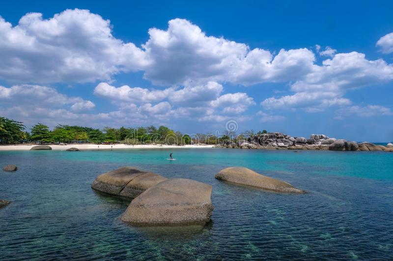 Beautiful view at Tanjung Tinggi beach Belitung island Indonesia. You can see many rock on the beach stock image